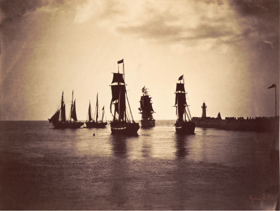 Gustave Le Gray, French, 1820–1884; Group of Ships Departing Le Havre, c.1856; albumen print from collodion glass negative; 12 1/8 x 16 inches; The Nelson-Atkins Museum of Art, Kansas City, Missouri, Gift of the Hall Family Foundation, 2007.21.18 Photo: John Lamberton