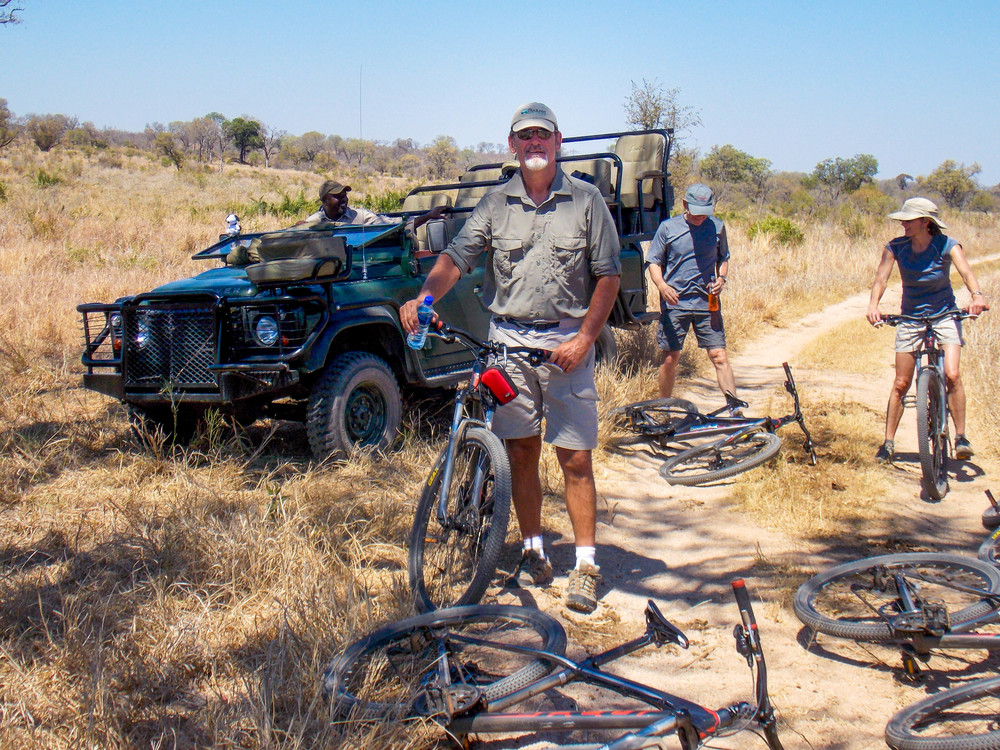 Chris, on a recent safari — still cycling!