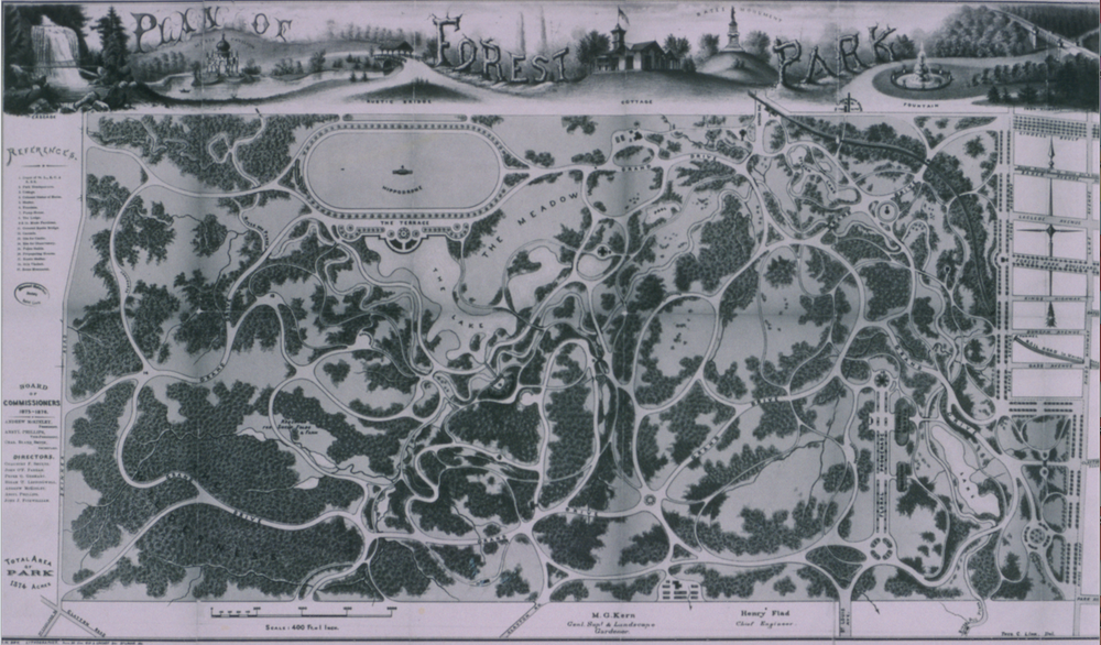 The 1876 plan of Forest Park. Because of shortages of time and money, the commissioners were unable to supply some of the planned features, such as the Cascades, pictured upper left.