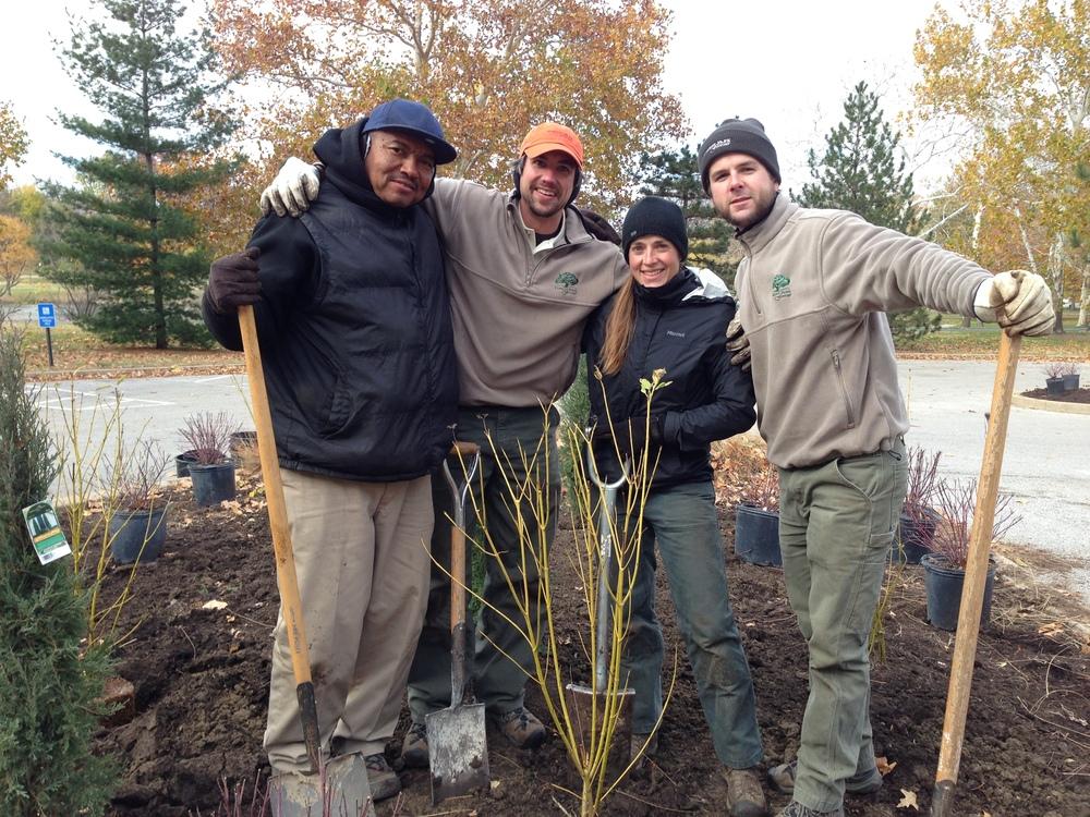 InternJoe Durham, Horticulture Foreman David Rowan, Gardener Kate Ronan and Horticulturist Mark Halpin take a quick break from planting