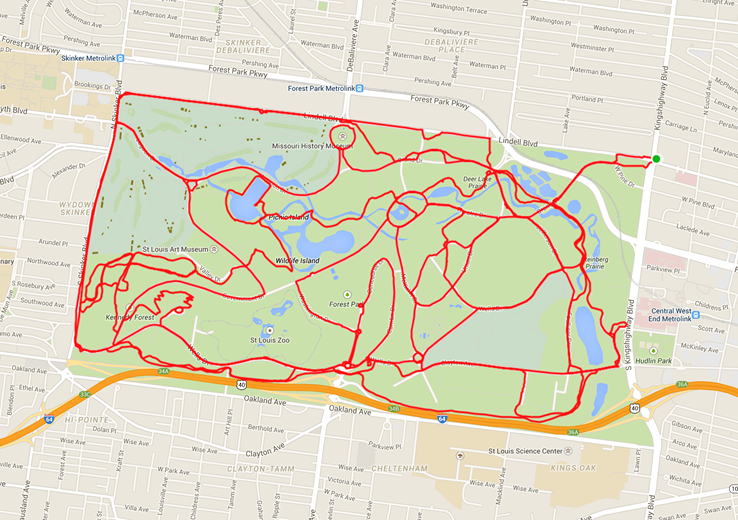 Leland mapped his 33.5 miles of cycling, which would take him 2:10.