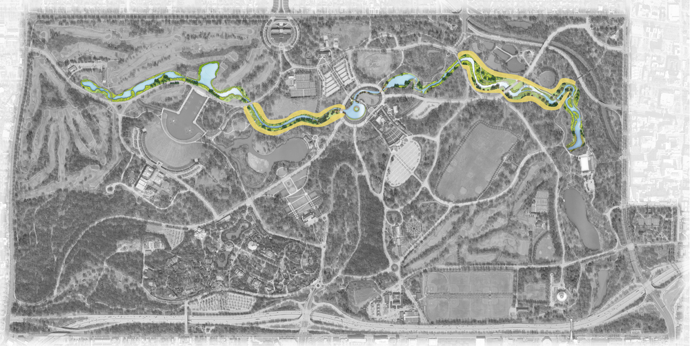 The Nature Works Collaborative focuses on improving areas along the waterway highlighted in yellow.