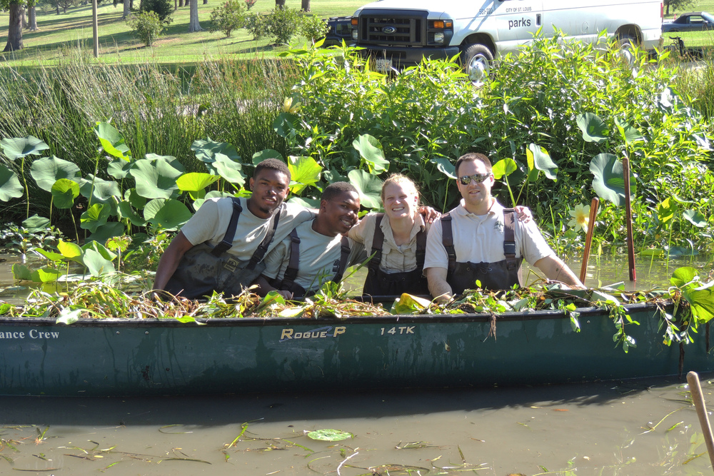 (From left) Nature Works pilot Youth Corps members Byron Davis and Raheem Woods, with Nature Works Coordinator Cassi Lundeen and Park Ecologist Peter VanLinn