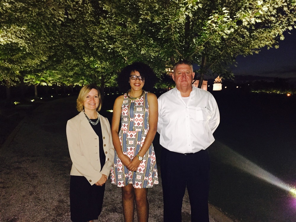 Forest Park Forever President and Executive Director Lesley Hoffarth, P.E., was joined by Harris-Stowe University student Jayleen Gonzalez and St. Louis City Director of Parks, Recreation and Forestry Greg Hayes for the official lighting ceremony on Thursday, September 10, 2015.