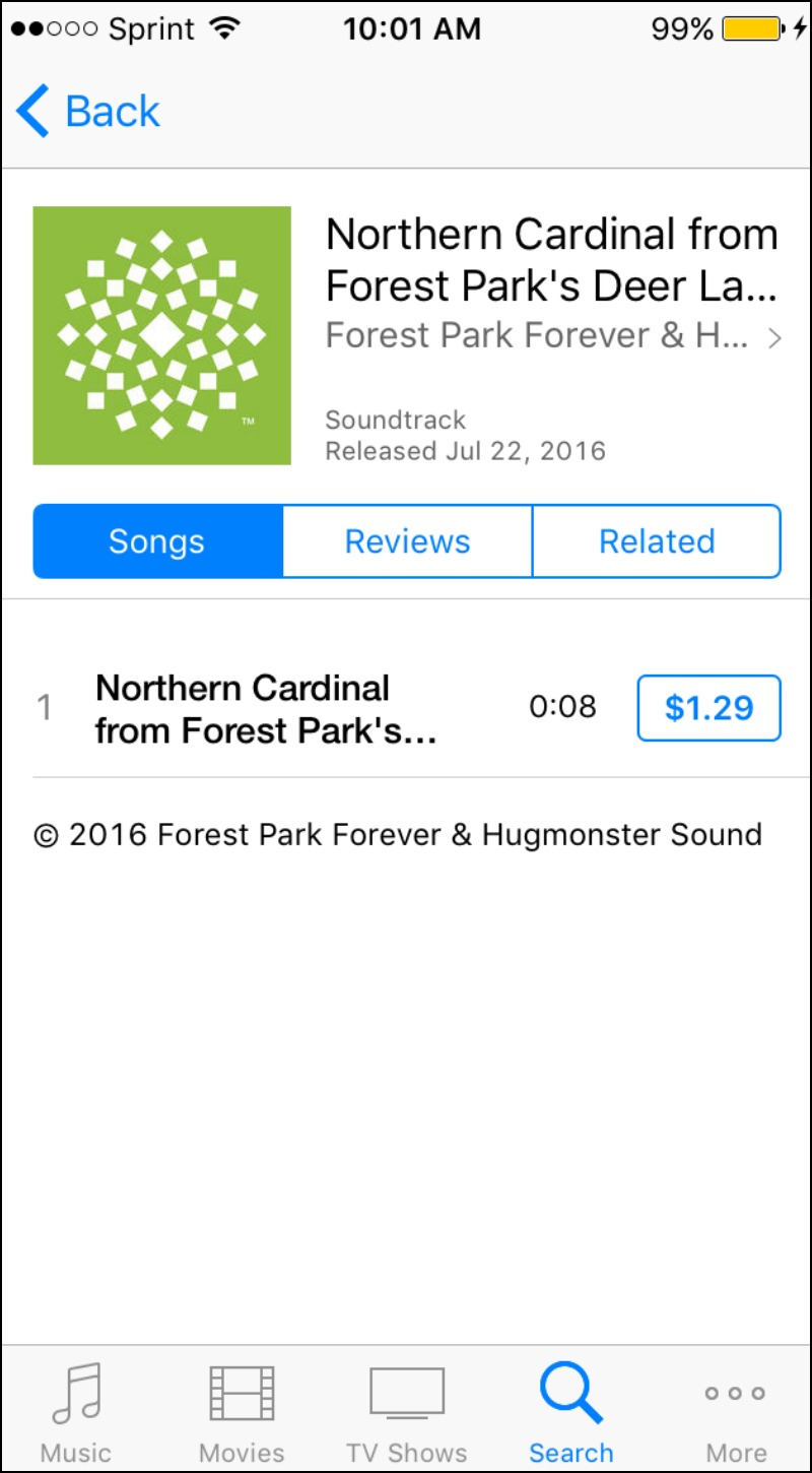 This screenshot shows the item listing for one of the ringtones in the iTunes store.