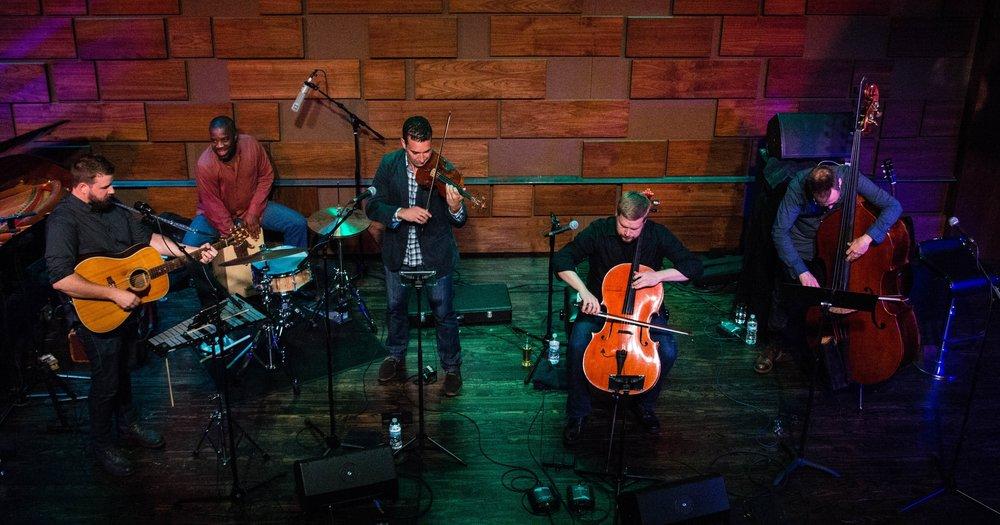 The 442s Adam Maness (composer, guitarist, keyboardist); Shawn Weil (violin); Bjorn Ranheim (cello); Sydney Rodway (double-bass); Montez Coleman (percussion)