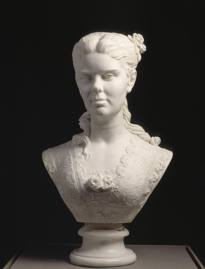 Edmonia Lewis, American, 1844–1907;  Portrait of a Woman , 1873; marble; without base: 23 x 16 1/2 x 11 1/4 inches