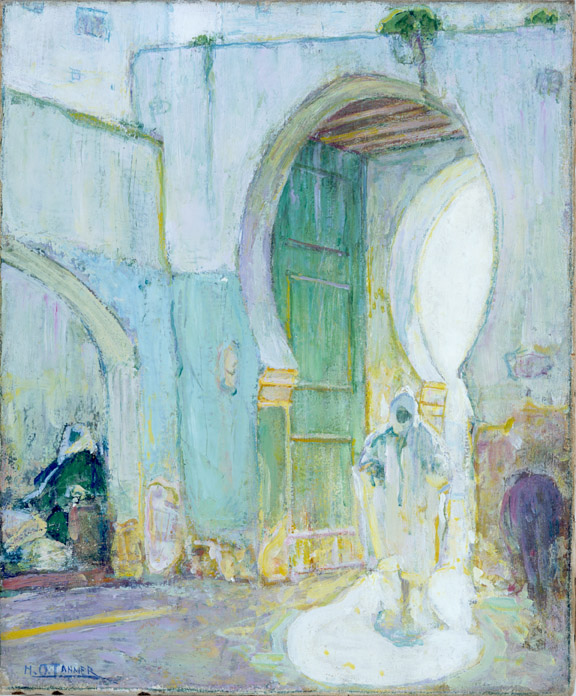 Henry Ossawa Tanner, American, 1859–1937;  Gateway, Tangier , c.1912; oil on canvas; 18 7/16 x 15 5/16 inches