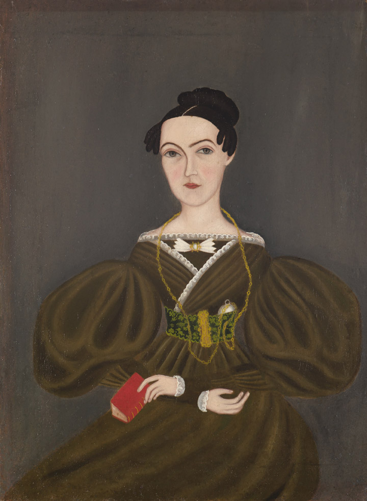 Woman with Butterfly Tie , c.1830-35; American; oil on linen; 16 3/16 x 12 inches