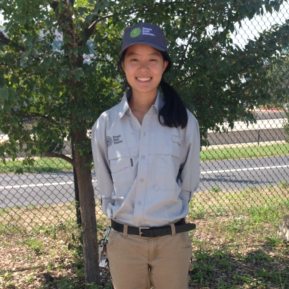 Catherine Hu  Zone 4 — Nature Reserve (Kennedy Forest, Kennedy Savanna, Wildlife Island)  Catherine joined the Forest Park Forever team in August of 2017. She has a B.S. in Chemical Engineering from the University of Michigan and an M.S. in Environmental Conservation from the University of Wisconsin-Madison. Since 2012, Catherine has volunteered with various conservation organizations for restoration and environmental outreach projects. She has previously worked at the Wisconsin Department of Natural Resources as an Invasive Plant Assistant.Originally from Michigan,she comes to FPF after interning at the Missouri Botanical Garden's Shaw Nature Reserve, where she assisted in ecological restoration projects. She is very excited to contribute to restoring and maintaining natural areas of Forest Park as well as learning and growing professionally.