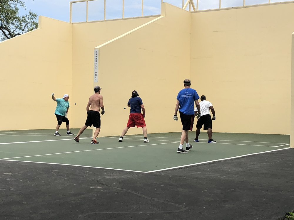 The handball courts are located just behind the Visitor Center