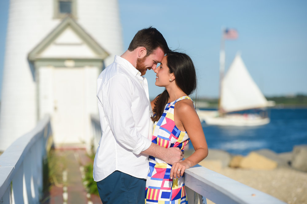 Nantucket Engagement Photos at Brant Point Lighthouse