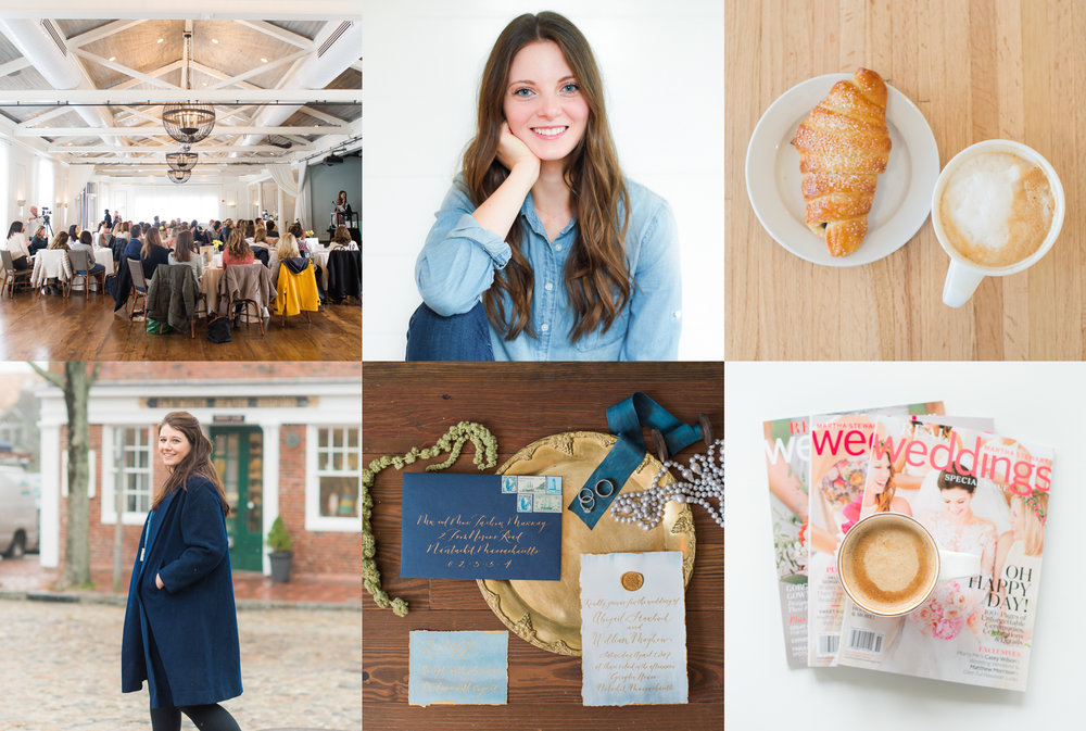 Left to Right: Brand Human Event at the Nantucket Hotel, Caroline Ott {founder of a brand new wedding planning business}, 45 Surfside details, Meg Blair-Valero of Fogged In Bookkeeping, Grey Lady Revelry details {calligraphy by Megan Fahy Calligraphy, jewelry by Jewel in the Sea}, Caroline Ott Wedding Planning details