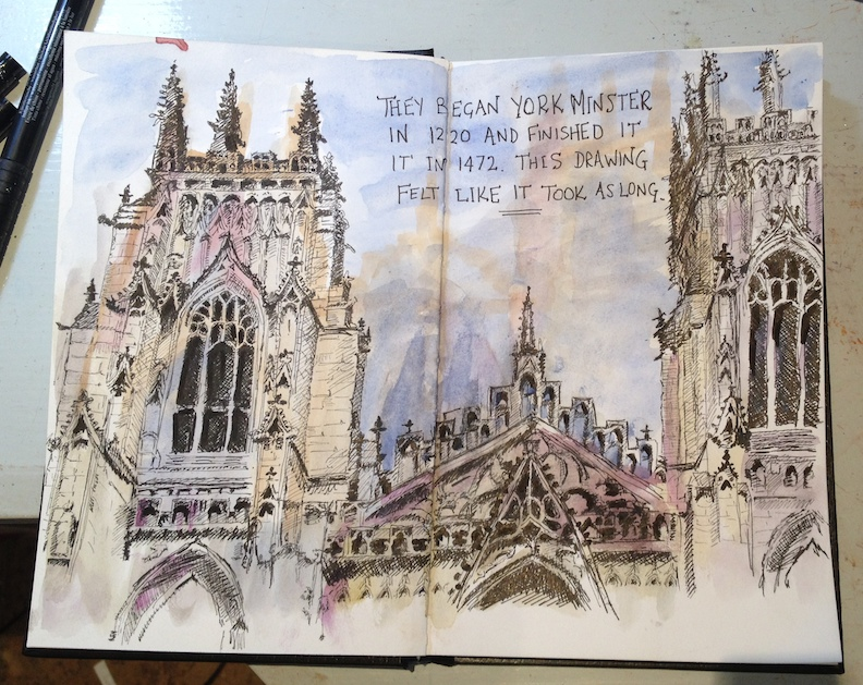 York Minster - pen and ink on top of a watercolour wash