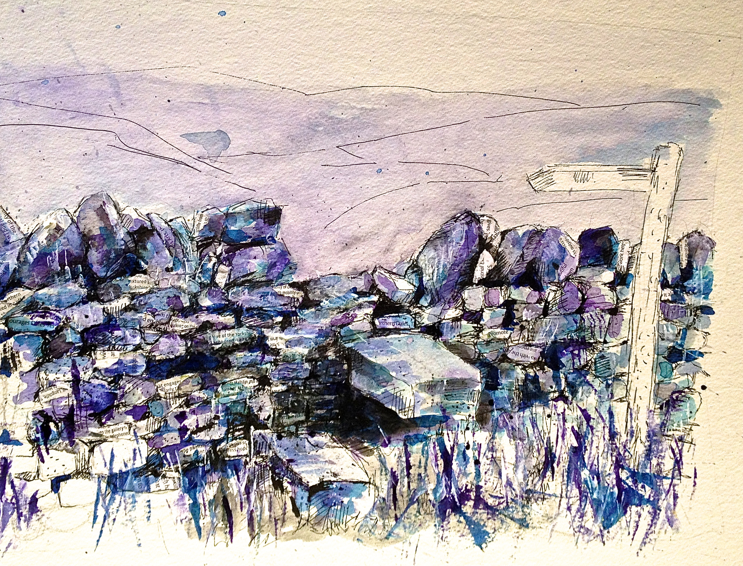 Work in progress - Wall in Purple and Blue