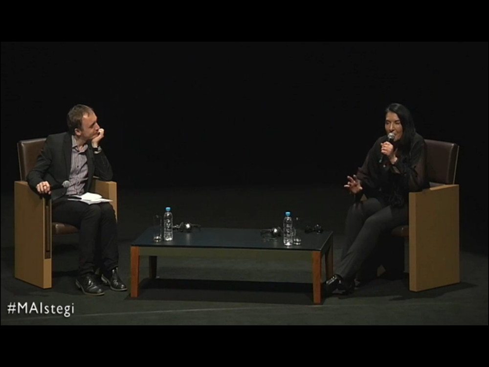 March 7th, 2014 Marina Abramovic in conversation with Zvonimir Dobrovic at Onassis Cultural Centre in Athens, Greece