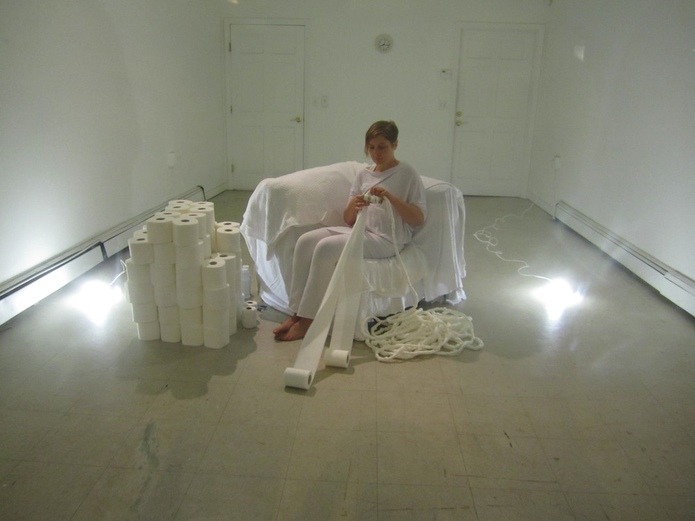 "Alice Vogler performing ""Evolver Rope"" at MEME gallery in Cambridge, Massachusetts in 2011. Photograph by Vela Phelan"