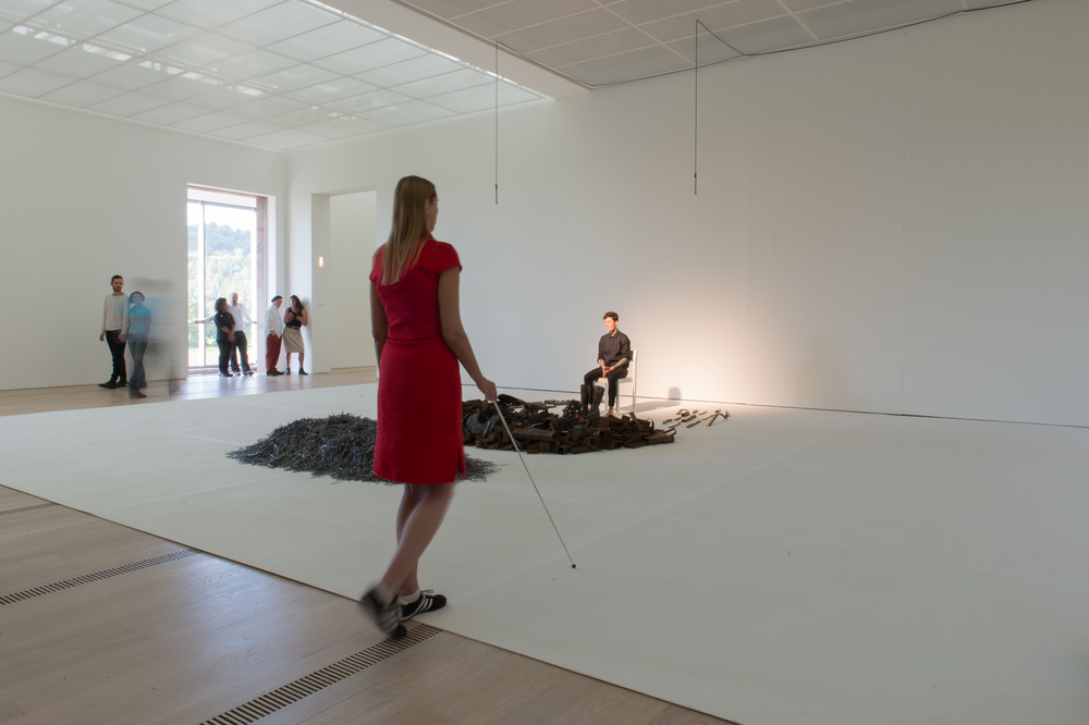 "Paula Garcia performing ""#8 (Noise Body Series)"" at   The Beyeler Foundation in Basel, Switzerland in 2014.  Photograph courtesy of the artist"