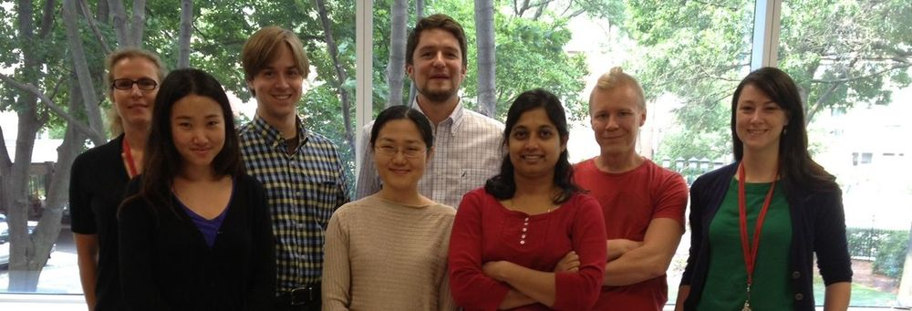 Vandenberghe Lab Members From left to right - Eva Plovie-Buys, PhD; Yang Lin, MS; MD; Eric Zinn, BSc; Ru Xiao, MD; Luk Vandenberghe, PhD; Rajani Shelke, PhD; Heikki Turunen, PhD; Livia Santos Carvalho, PhD