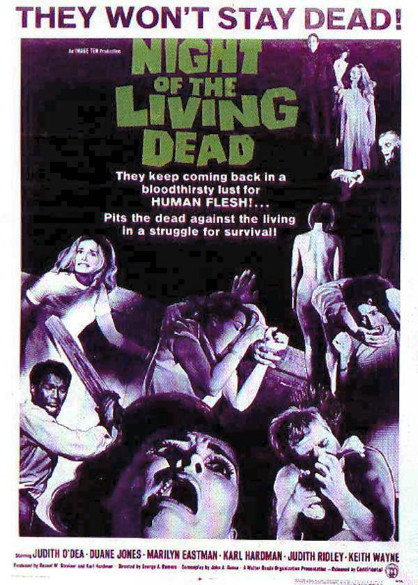 """Night of the Living Dead affiche"". Licensed under Public Domain via Commons - https://commons.wikimedia.org/wiki/File:Night_of_the_Living_Dead_affiche.jpg#/media/File:Night_of_the_Living_Dead_affiche.jpg"