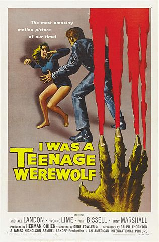 """I Was A Teenage Werewolf-poster"" by Reynold Brown - http://wrongsideoftheart.com/wp-content/gallery/posters-i/i_was_teenage_werewolf_poster_01.jpg. Licensed under Public Domain via Commons - https://commons.wikimedia.org/wiki/File:I_Was_A_Teenage_Werewolf-poster.jpg#/media/File:I_Was_A_Teenage_Werewolf-poster.jpg"