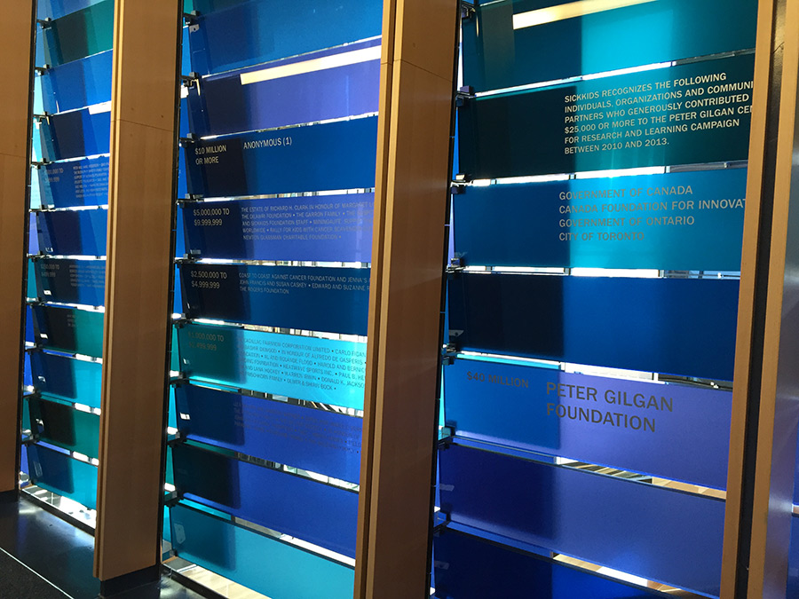 Donor Recognition Display, Sickkids, Toronto, ON