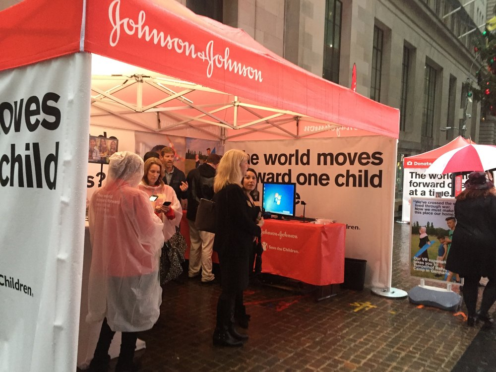 Johnson & Johnson #GivingTuesday pop-up activation at the NYSE