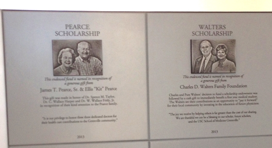 The donor plaques installed in the USC School of Medicine Greenville.