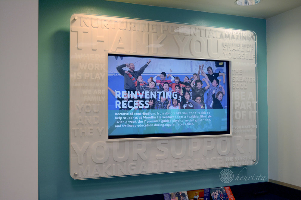 Branded Digital Donor Recognition Displays - YMCA of Western North Carolina, multiple branches