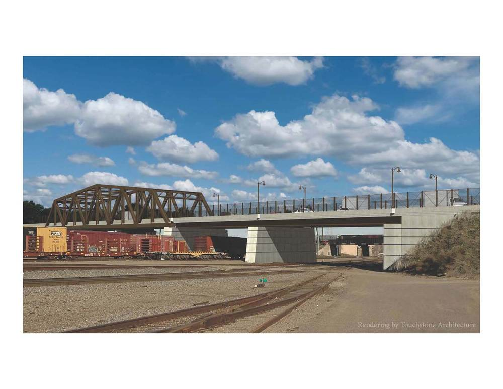 Rendering of the proposed space-frame through-truss and two steel beam approach spans.  The spans are supported by two piers in the rail yard and two abutments on either side of the crossing.
