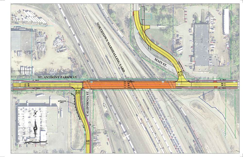 The roadway layout shows  the realignment of both California Street and Main Street.  It also  shows the addition of a sidewalk on the east side of California Street  all the way down to 31st.  The  new crossing will accommodate two (2) traffic lanes (one in each  direction), a 10' sidewalk on the north and a 14' trail on the south.  An  interpretive space/plaza will be located at the southeast corner of the  intersection of California Street at St. Anthony Parkway.