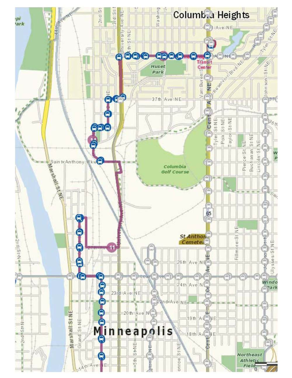 The local bus route is currently detoured around the bridge. The bus will be re-routed back over the St. Anthony Northtown bridge after construction is complete.