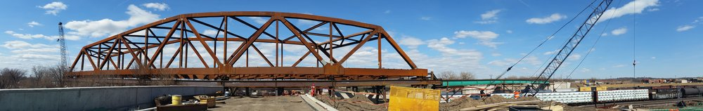Image of the new truss just prior to being launched out over the active rail yard.