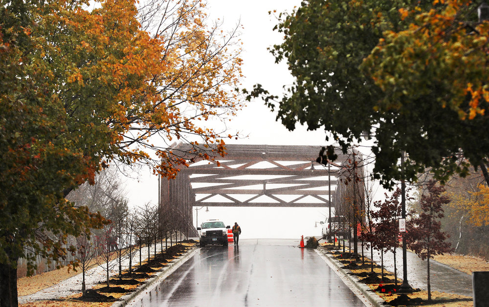 A worker finishes planting a colonnade of trees on the west side of the crossing.  Photo by Leila Navidi - Star Tribune