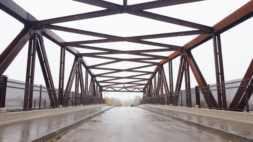 A quiet view from inside the new truss, just before nearly 100 people gathered together to celebrate the grand opening of the bridge on October 27th, 2017.  Photo by Kristin Petersen