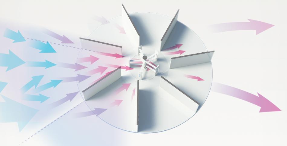 Rüzgar basıncındaki değişim sayesinde aldığı rüzgarı hızlandırır.
