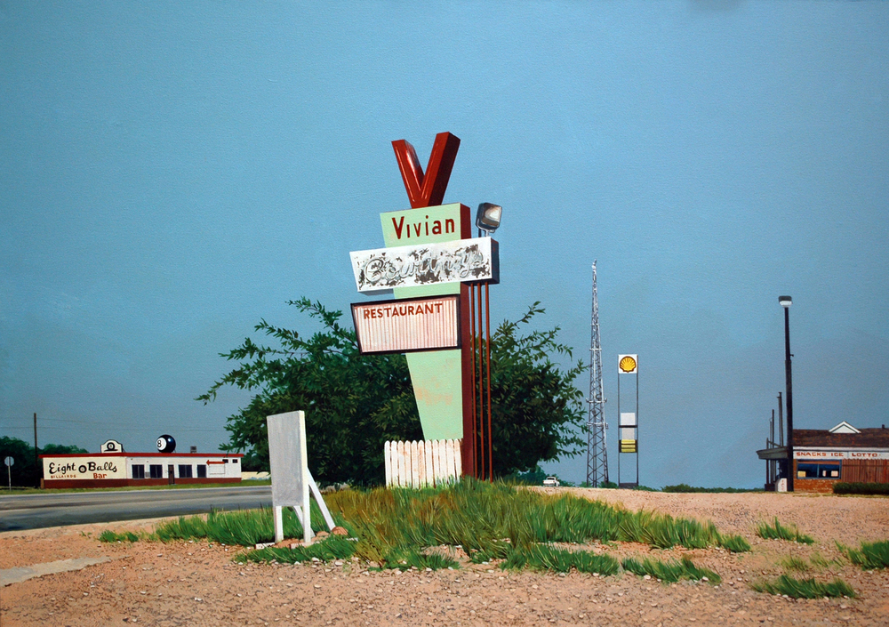 "Daniel Blagg,  Vivian's , oil on canvas 39 1/2 x 57"" $9,000.  Contact Artspace111 to purchase."