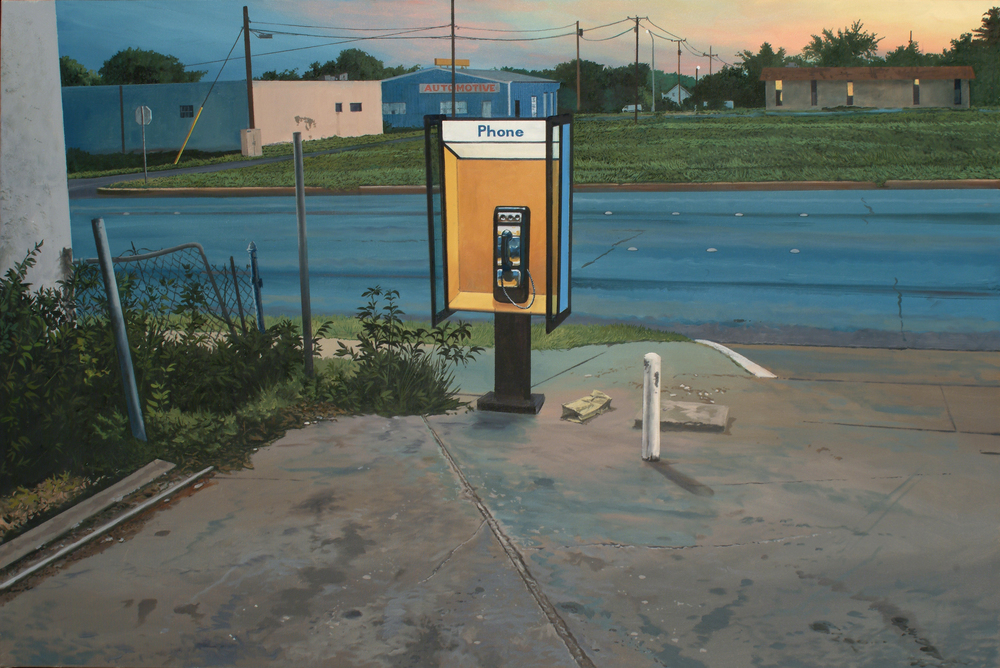 "Daniel Blagg,  Pay Phone 3  (detail), oil on canvas, 24 x 30"" In private collection, Fort Worth, TX"