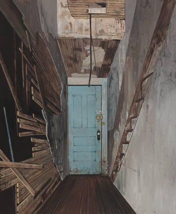 "Daniel Blagg, The Studio Door, oil on canvas, 80 x 66""  In the collection of the Modern Art Museum of Fort Worth."