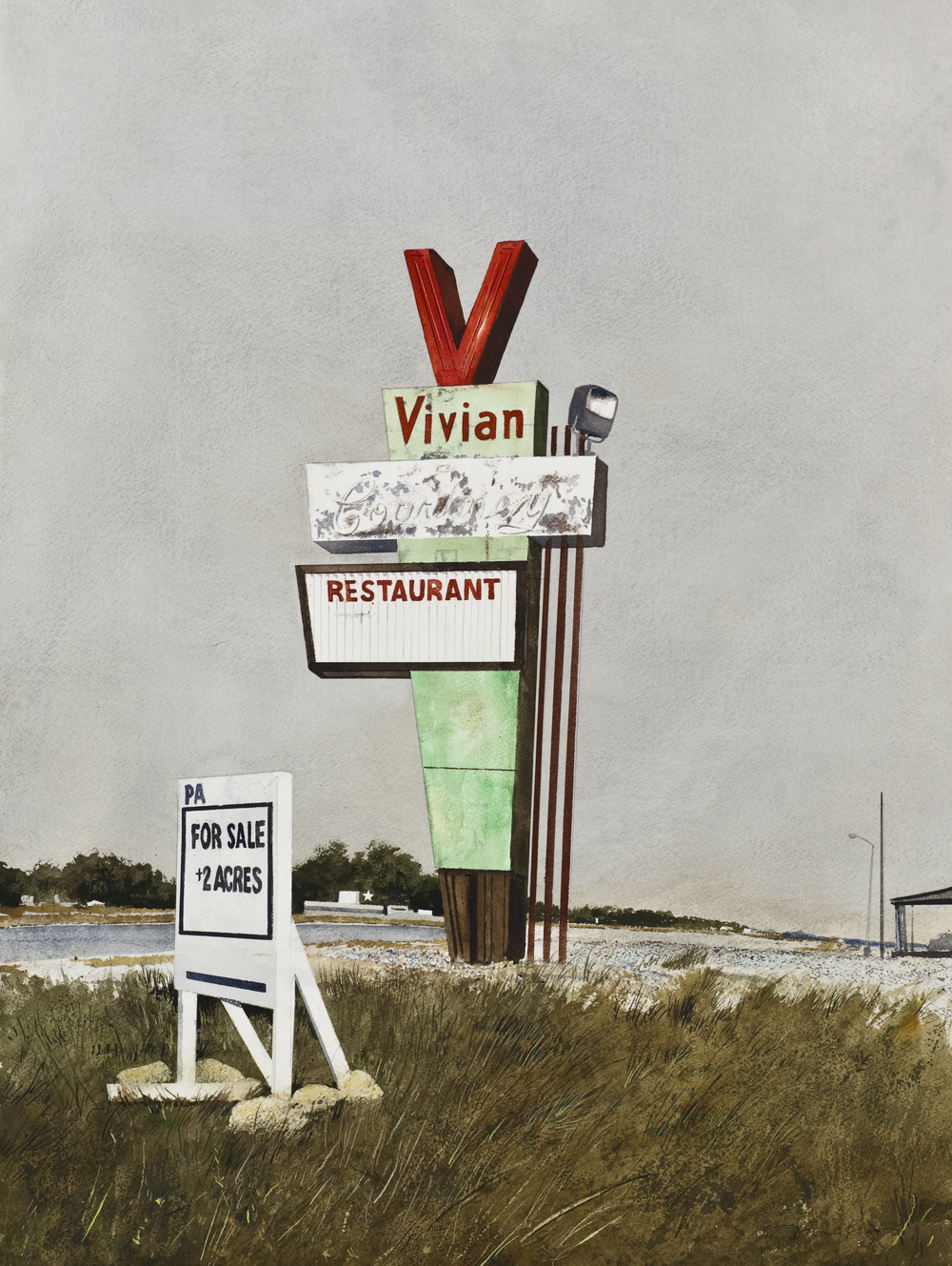 "Daniel Blagg, For Sale, 2012, watercolor on paper, 35 x 27 1/2"". Private Collection, Fort Worth, TX."