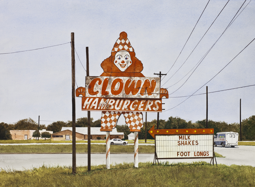 "Daniel Blagg, Clown Hamburgers, 2012, watercolor on paper, 27 1/2 x 35"". Private Collection, Fort Worth, TX."