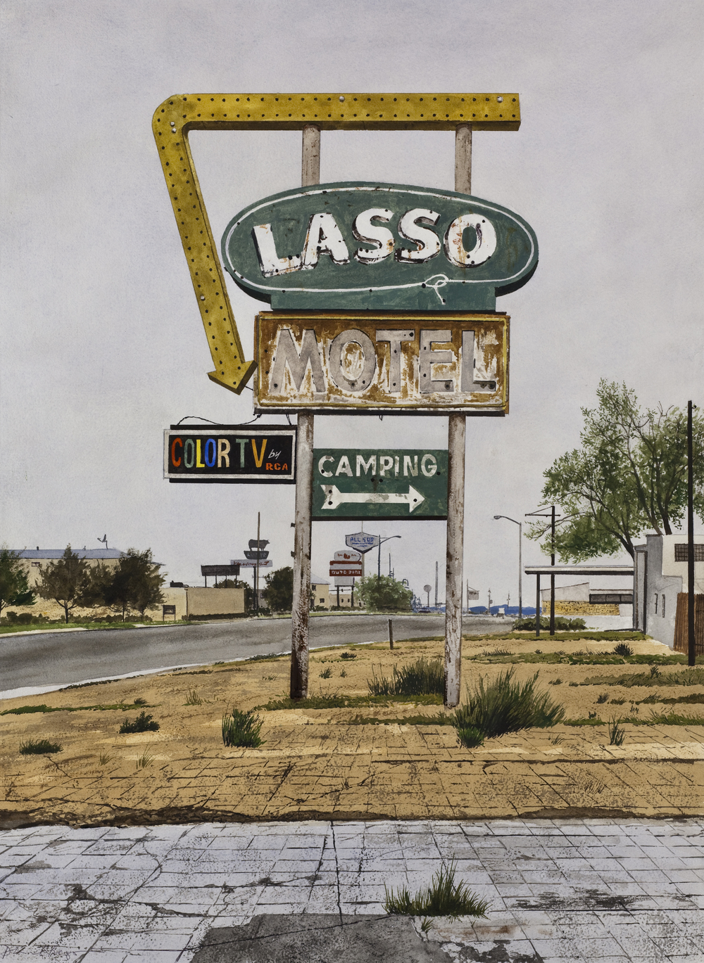 "Daniel Blagg, The Lasso, 2012, watercolor on paper, 35 x 27 1/2"". In the collection of Commerce Capital, Dallas, TX."