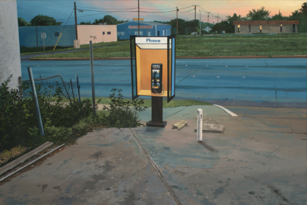 "Daniel Blagg, Pay Phone 3, 2008, oil on canvas 40 x 60"". Private Collection, Fort Worth, TX."