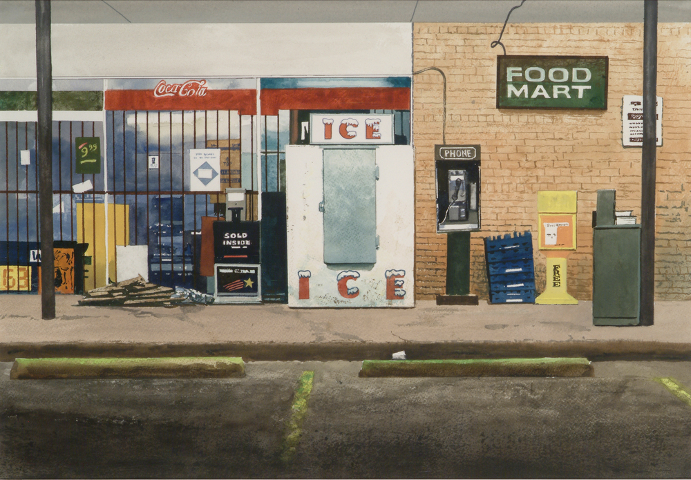 "Daniel Blagg, Food Mart, 2009, watercolor on paper, 14 x 20"". Private Collection."