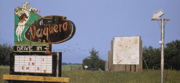 "Daniel Blagg, The El Vaquero, 2009, oil on canvas, 40 x 90"". Private Collection, Fort Worth, TX."