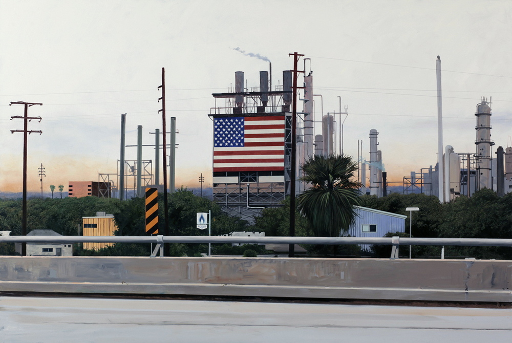 "Daniel Blagg, L.A. Refinery, 2010, oil on canvas, 50 x 74"". Private Collection, Fort Worth, TX."