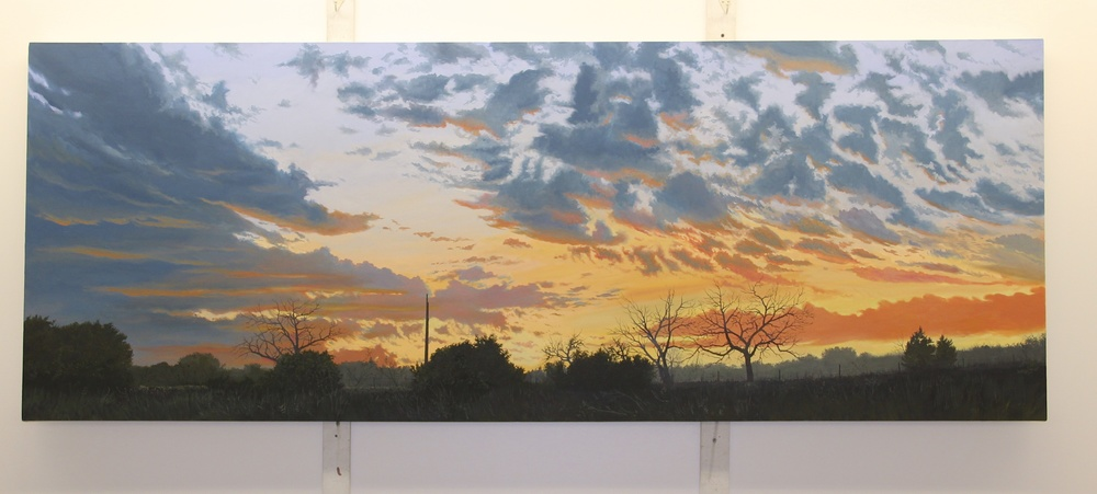 "Daniel Blagg, Evening Light, 2013, oil on canvas, 36 x 96"".  Private Collection, Fort Worth, TX."