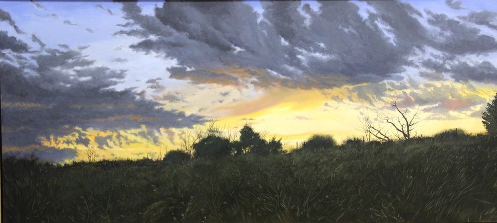 "Daniel Blagg, Last Light, 2012, oil on canvas, 30 x 65"". Private Collection, Fort Worth, TX."