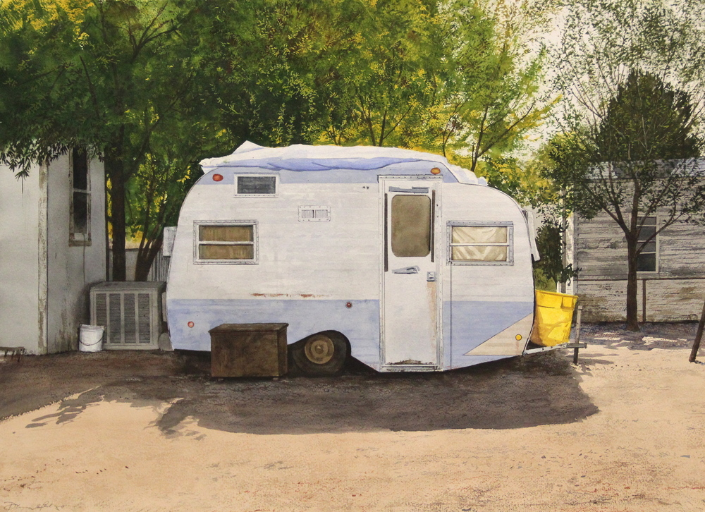 "Daniel Blagg, Guest Quarters, 2012, watercolor on paper, 27 1/2 x 35"". Private Collection, Fort Worth, TX."