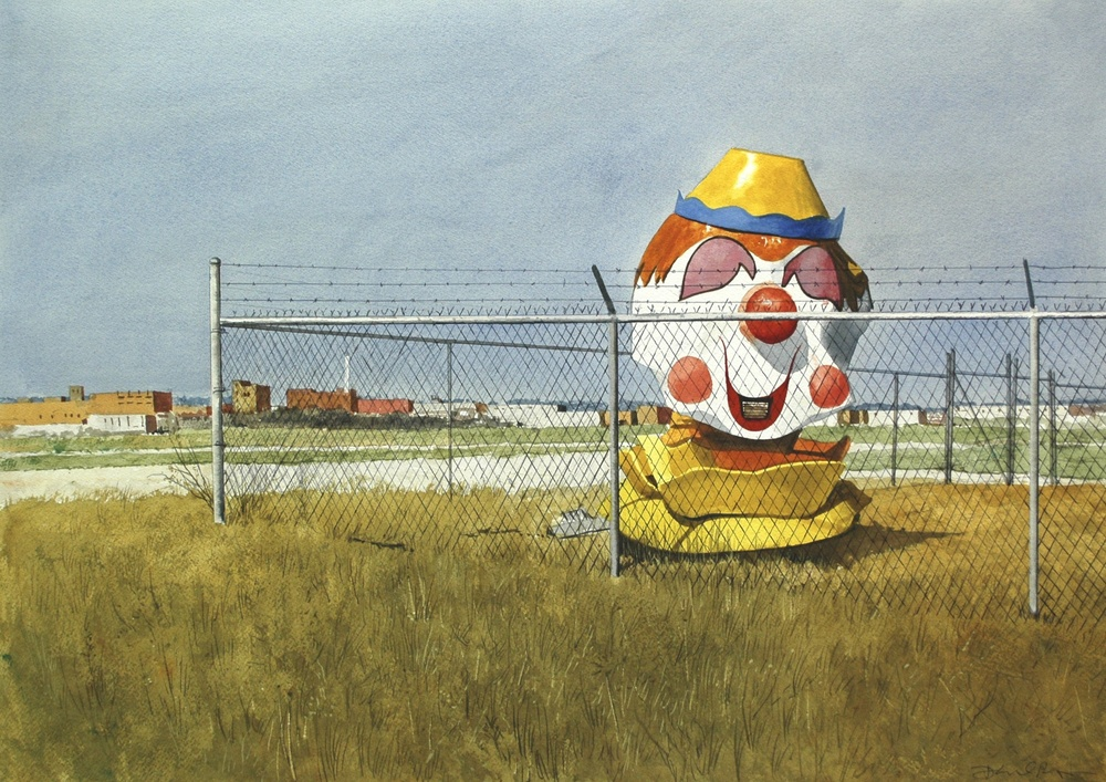 "Daniel Blagg, The Outsider, 2012, watercolor on paper, 23 1/2 x 30 1/2"". Private Collection, Fort Worth, TX."